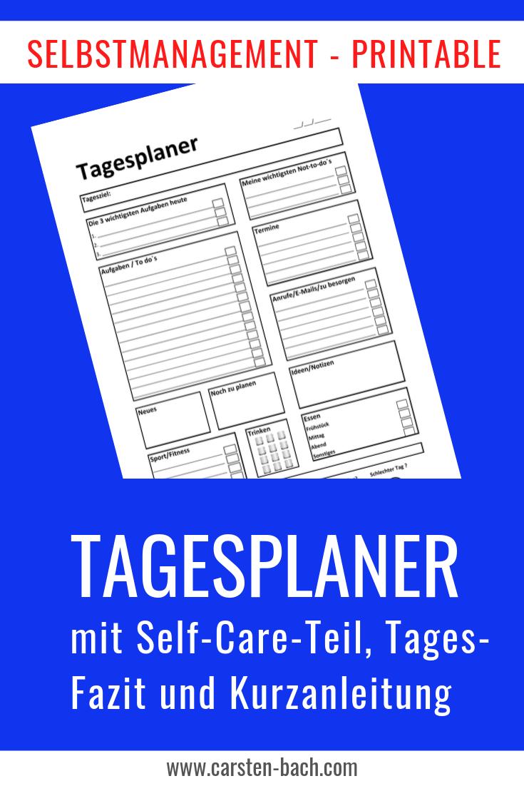 Tagesplaner, Tageplan, Planung, Zeitmanagement, Selbstmanagement, Printable, Zeitmanagement Tipps, Formblatt, Template,