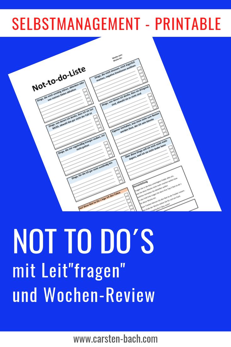 Not to do, Not to do Liste, Gewohnheiten ändern, Zeitmanagement, Selbstmanagement, Printables, Formblätter, Templates, Effizienz, Produktivität, Bullet Journal
